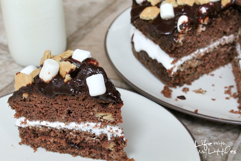 S'mores Cake: Moist chocolate cake, gooey, melty marshmallows, crumbled graham crackers, and a drizzle of chocolate. It's the perfect summer dessert!