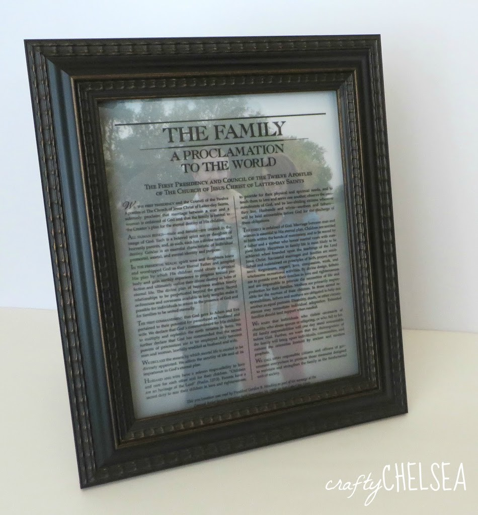 Easy DIY Family Proclamation Picture: a super fast beautiful project that costs less than $4! Perfect for wedding and anniversary presents!