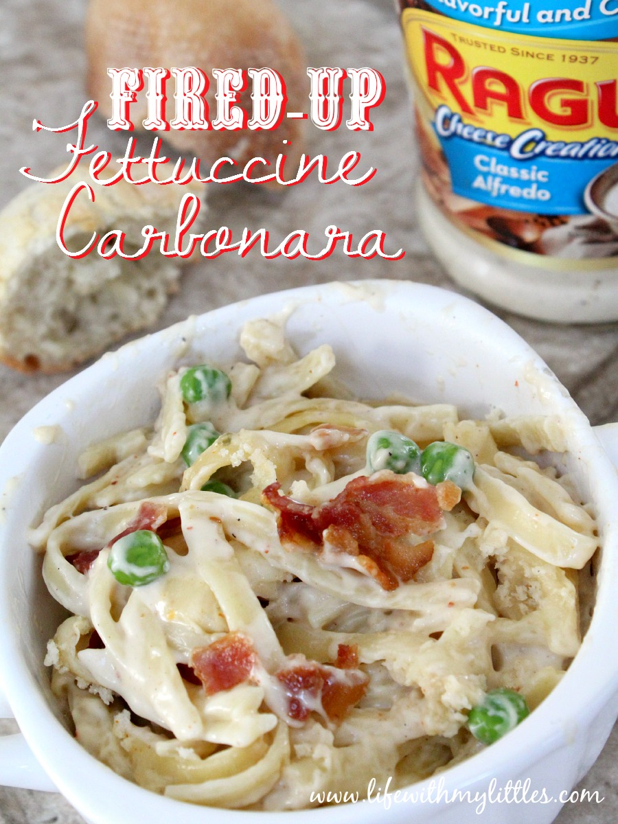 Fired-Up Fettuccine Carbonara Bake: With bacon, pepper-jack cheese, and peas, it's one of those easy pasta recipes you can't help but make over and over!