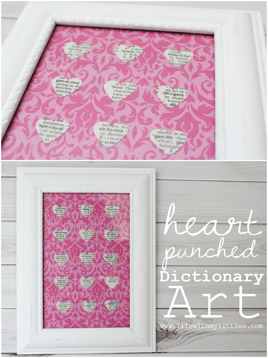 Easy Heart-Punched Dictionary Art: A beautiful, easy, and cute way to decorate a baby girl's nursery.