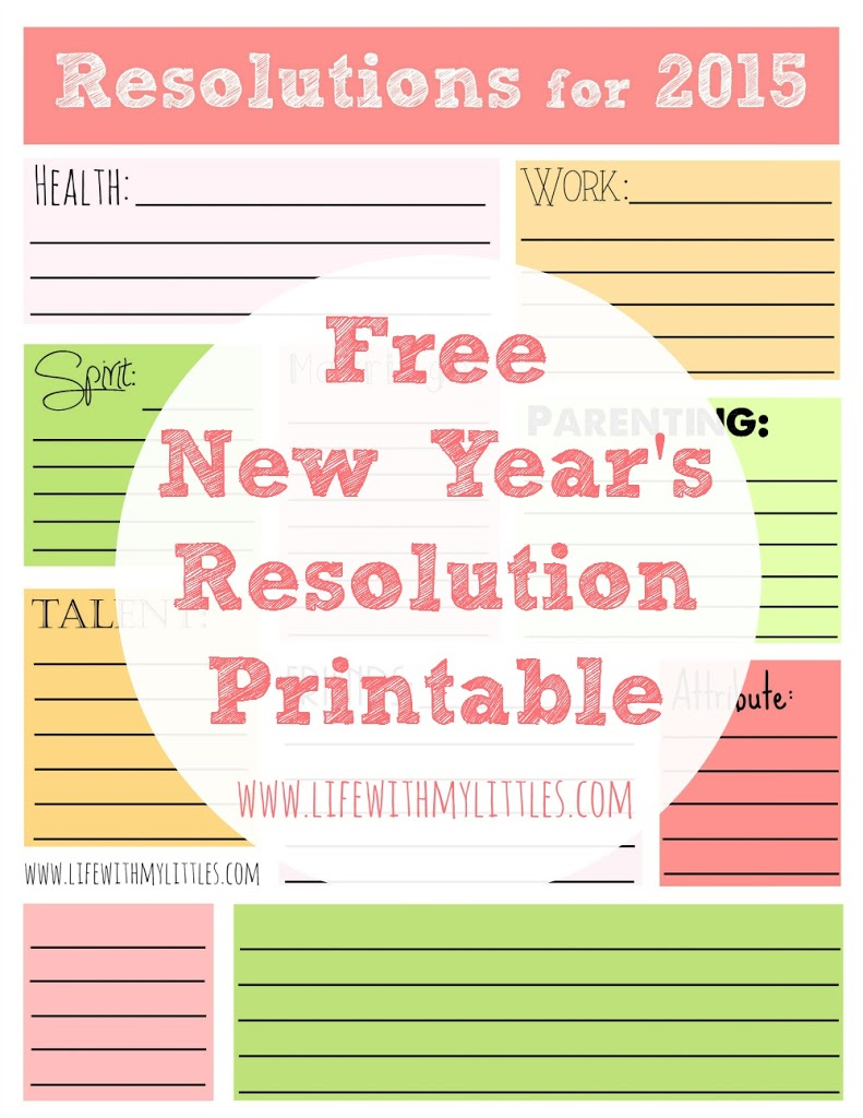 Free 2015 New Year's Resolution Printable! Includes categories like health, work, spirit, marriage, parenting, talent, friends, attribute, and two blanks!