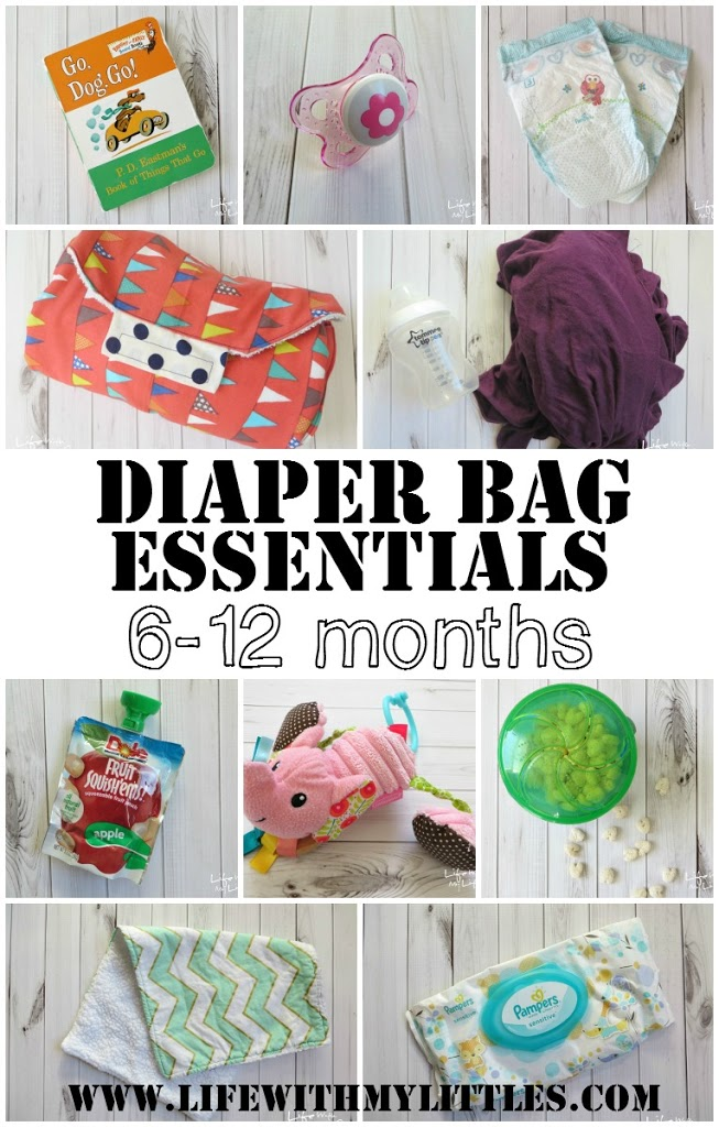 Diaper bag essentials for babies 6-12 months old. Great tips and super helpful explanations on what to keep in your diaper bag!