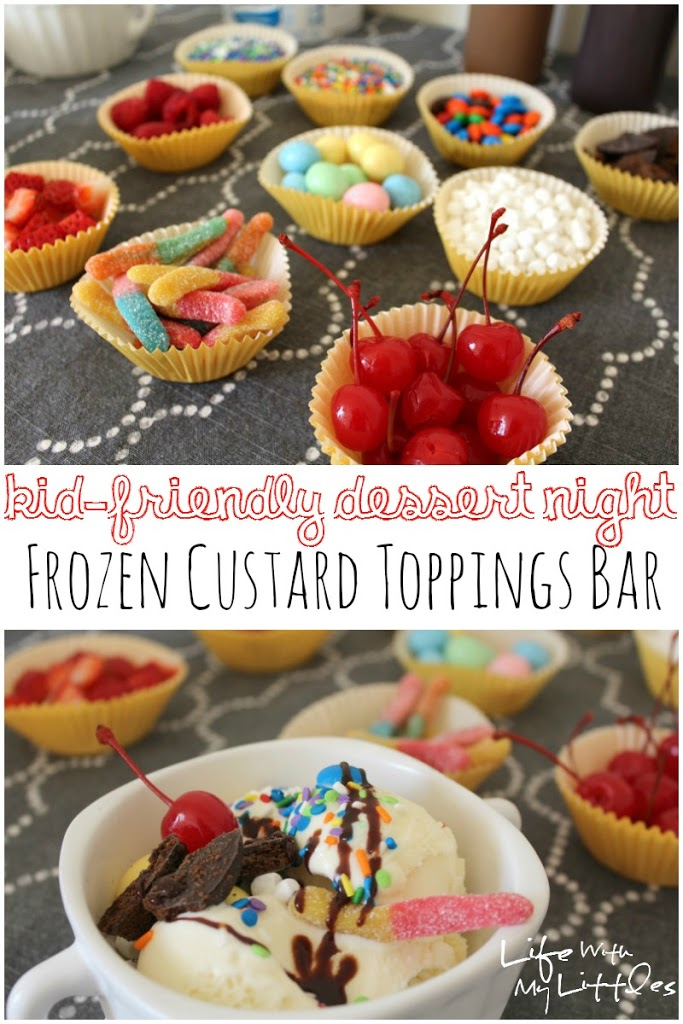 Kid-Friendly toppings bar with new EDY's Frozen Custard!! An easy dessert everyone will love that's perfect for the whole family.