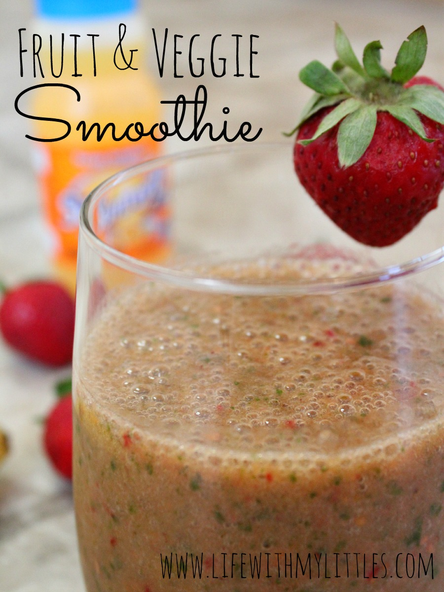 This fruit and veggie smoothie is the perfect way to get extra fruit and veggies. And you can't even taste the vegetables!