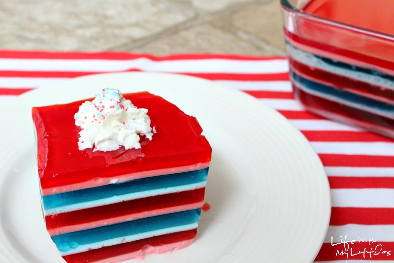 This patriotic layered jello salad is perfect for the Fourth of July or any summer barbecue! It's super easy and looks beautiful!