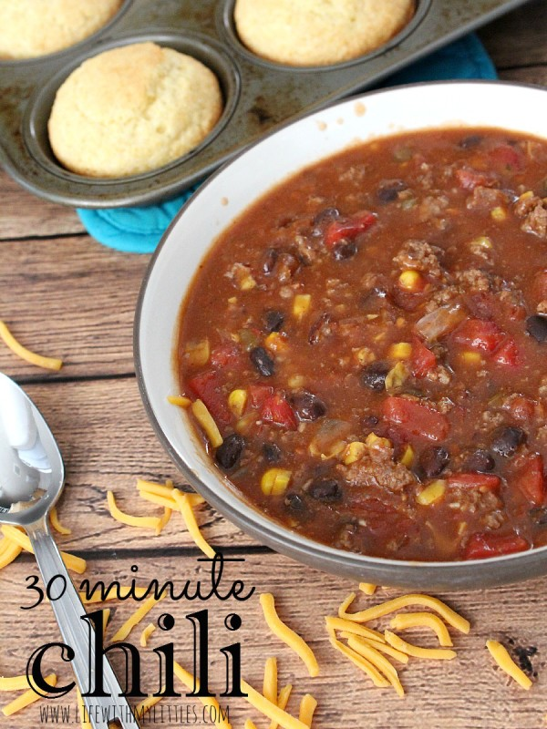The easiest and most delicious 5 can vegetarian chili! Takes 30 minutes to cook and is perfect for an easy weeknight dinner!