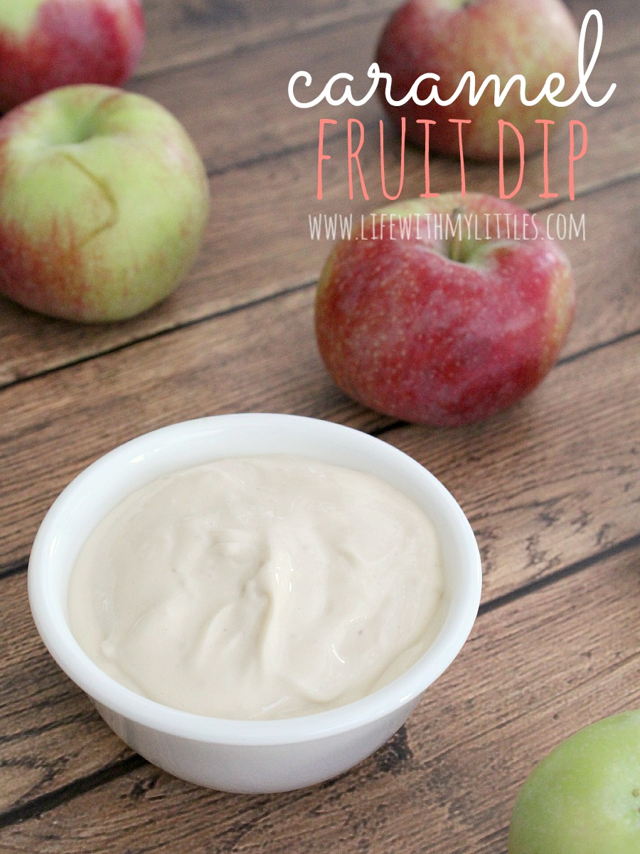 Delicious three-ingredient caramel fruit dip. Goes amazing with apples, strawberries, or grapes. It's the perfect dip for your next party, or even makes a great snack!