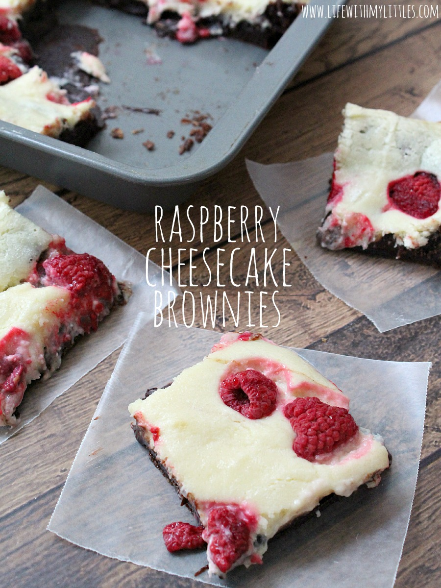 These raspberry cheesecake brownies are so easy, and so divine. Thick chocolate chunk brownies topped with homemade cheesecake and fresh raspberries! Everyone will be begging you for the recipe!