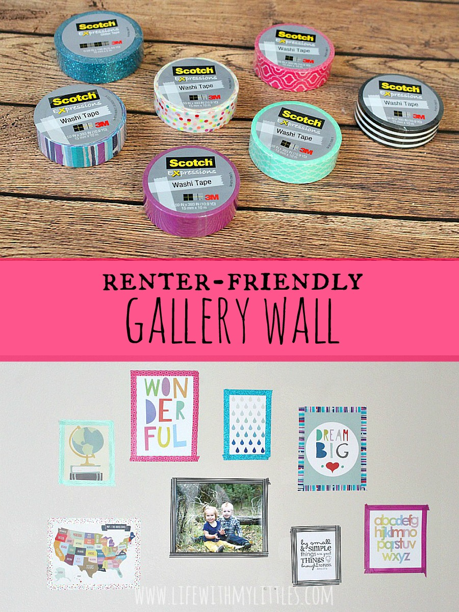 Love this renter-friendly gallery wall! What a cute way to hang up pictures without making holes in the walls! And it's so bright and colorful!