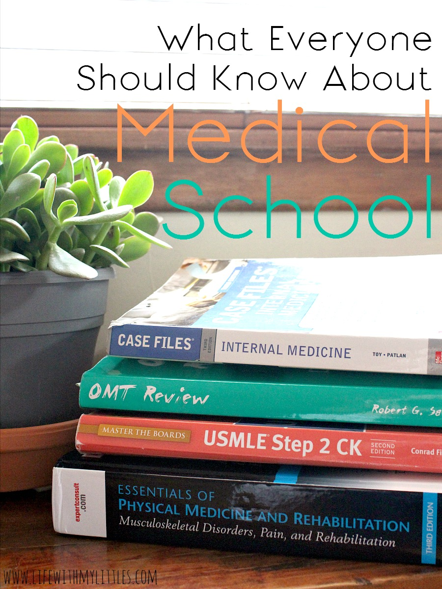 What everyone should know about medical school. This is a great post about little-known facts about medical school! Everyone should read this. I had no idea! Especially great for med students or med school wives!