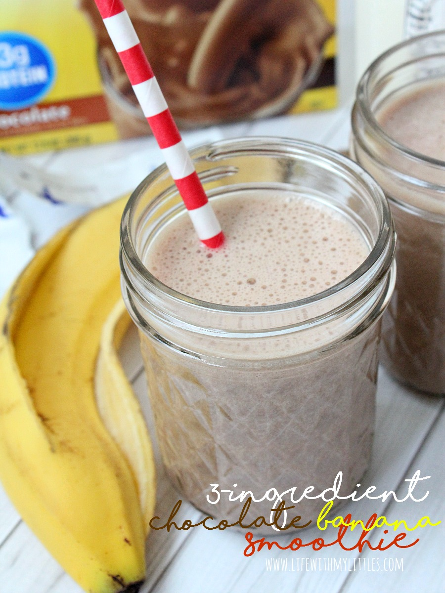 This 3-ingredient chocolate banana smoothie is the perfect nutritious breakfast to start the day! Lots of calcium, vitamin D, and protein, and kids love it too!