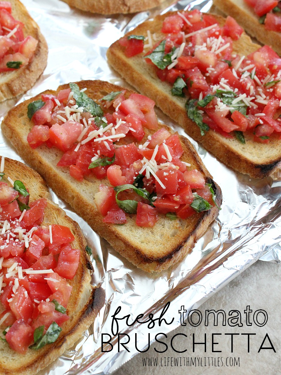 This fresh tomato bruschetta recipe is made on freshly baked sourdough bread and is topped with a tomato basil mix and Parmesan cheese! It's the perfect appetizer or side dish for any Italian meal! And it's DELICIOUS!