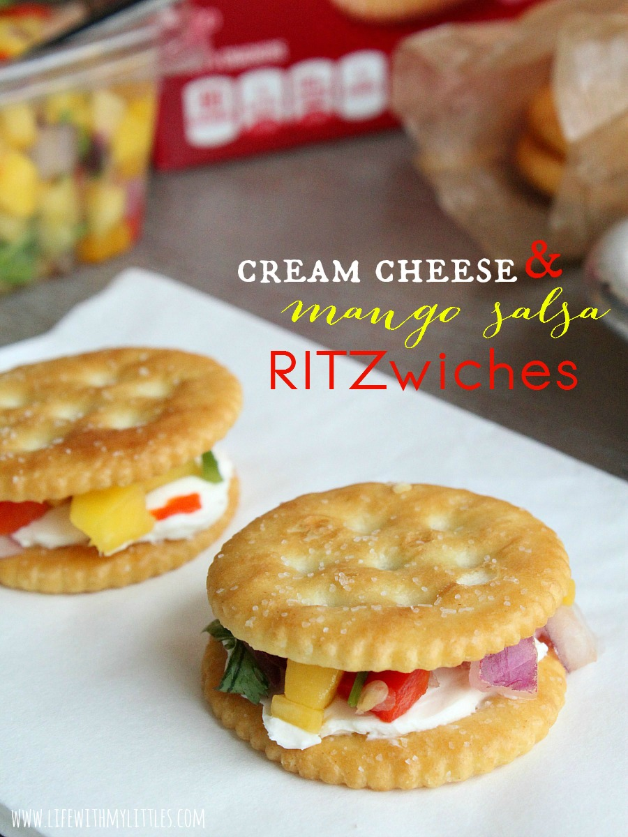 These easy and fast Cream Cheese and Mango Salsa RITZwiches are the perfect snacking solution for your next party! Get ready to be complimented!