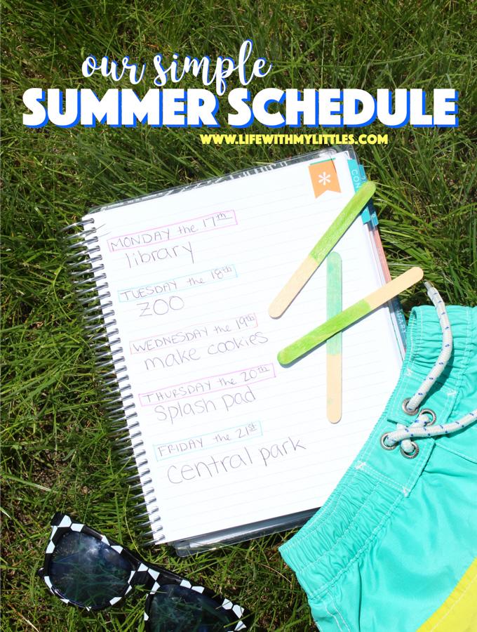 This simple summer schedule is a great way to have a more relaxed, flexible summer vacation, but still enjoy scheduled activities! Nine easy activity ideas and how to implement them to make the most of your summer! Great for toddlers, preschoolers, or elementary-aged kids!