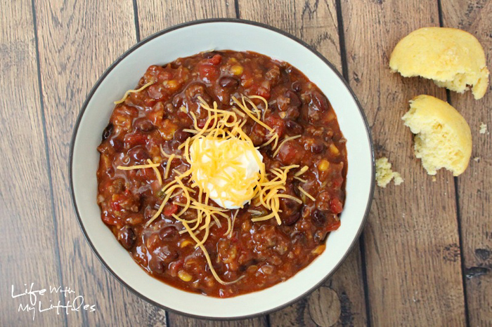 The best and easiest chili recipe to help you win any chili cook-off! Five ingredients, it cooks in a crock pot, and it'll warm you right up on cold, winter days!