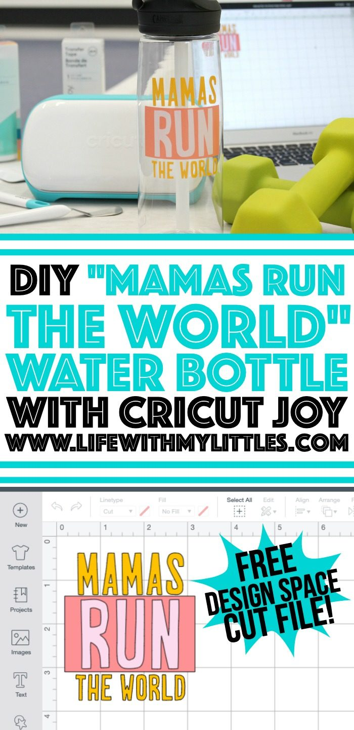 "Customize your own water bottle in just a few minutes with the new Cricut Joy! This tutorial includes a free cut file for a ""Mamas Run the World"" water bottle decal that's perfect for moms who love to run!"