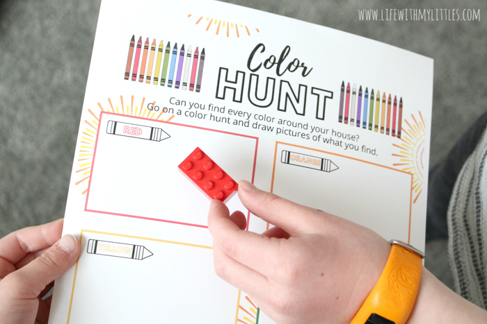 This at-home color hunt printable is a great way to keep kids busy and having fun while you're stuck inside! Great for younger and older kids, and it comes in color or black and white!