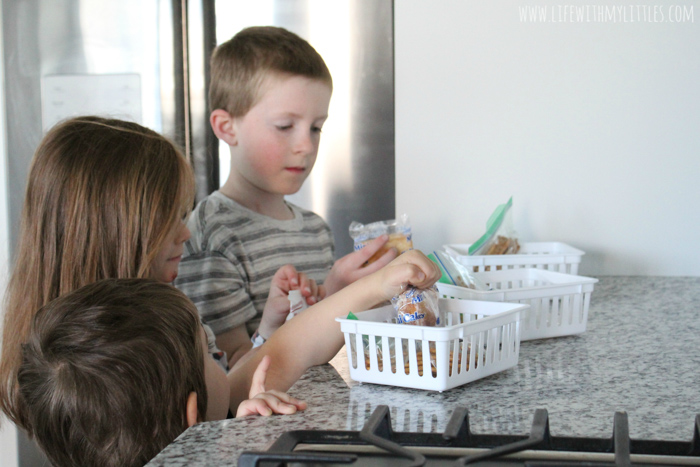 Daily snack bins are the perfect way to end the constant battle over snacktime! Put your kids' snacks in them in the morning, and they get to decide when to eat them! An easy, DIY solution that stops pestering and teaches self-control!