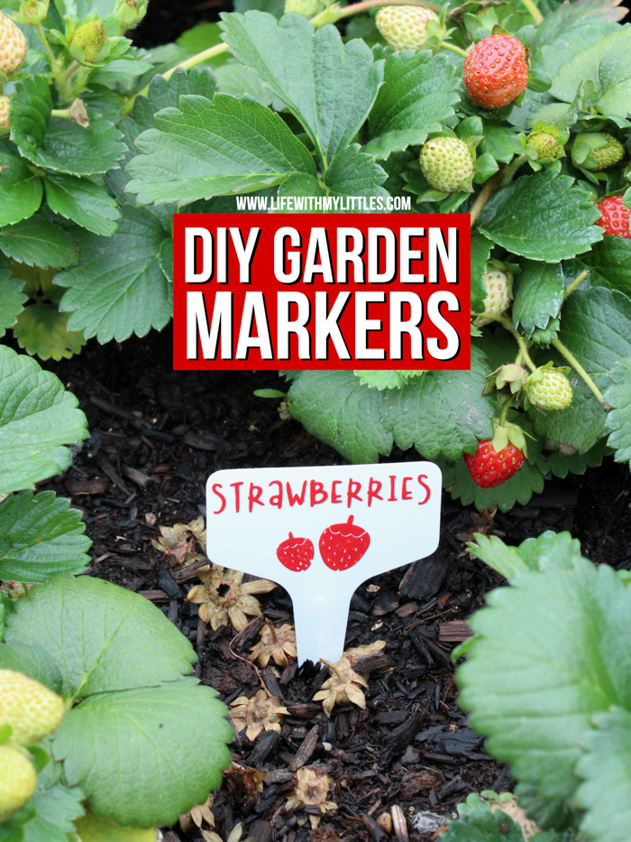 These DIY Garden Markers are the perfect way to mark fruits and vegetables in your garden! Permanent vinyl and plastic garden tags combine to make durable, long-lasting markers! 32 different fruits and vegetables included in the cut file, and you can customize the color, size, and which ones to cut with your cutting machine!