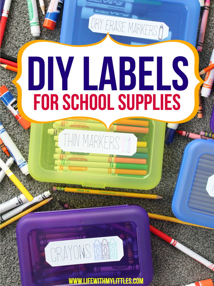 These DIY labels for school supplies are so simple to make and apply! You can easily personalize them for your child and they only take a few minutes to make. Such a great way to label supplies for school!