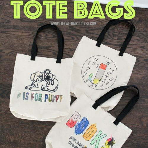 Kid-colored tote bags are an easy, personal DIY holiday gift! Make custom tote bags for your kids or friends, or gift them to grandparents or teachers!