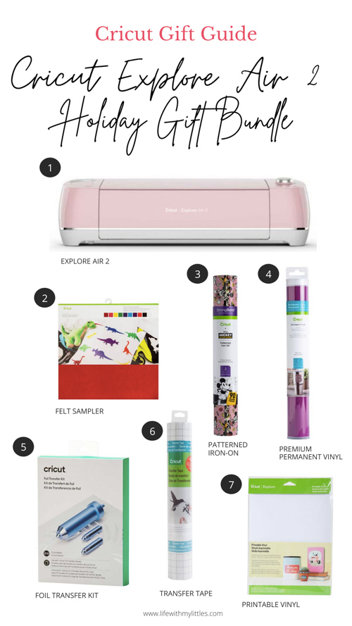 Cricut gift guide for the Cricut Explore Air 2! This gift bundle is perfect for serious makers who are constantly coming up with big projects! Everything you need to get started with the Cricut Explore Air 2!
