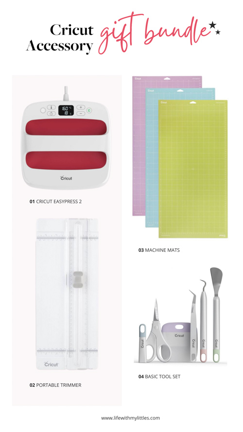 Cricut gift guide for Cricut accessories! This gift bundle is perfect for someone who already has a Cricut machine they love! Four things to take their crafting to the next level!