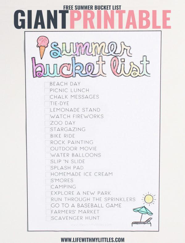 Giant Printable Summer Bucket List for Kids