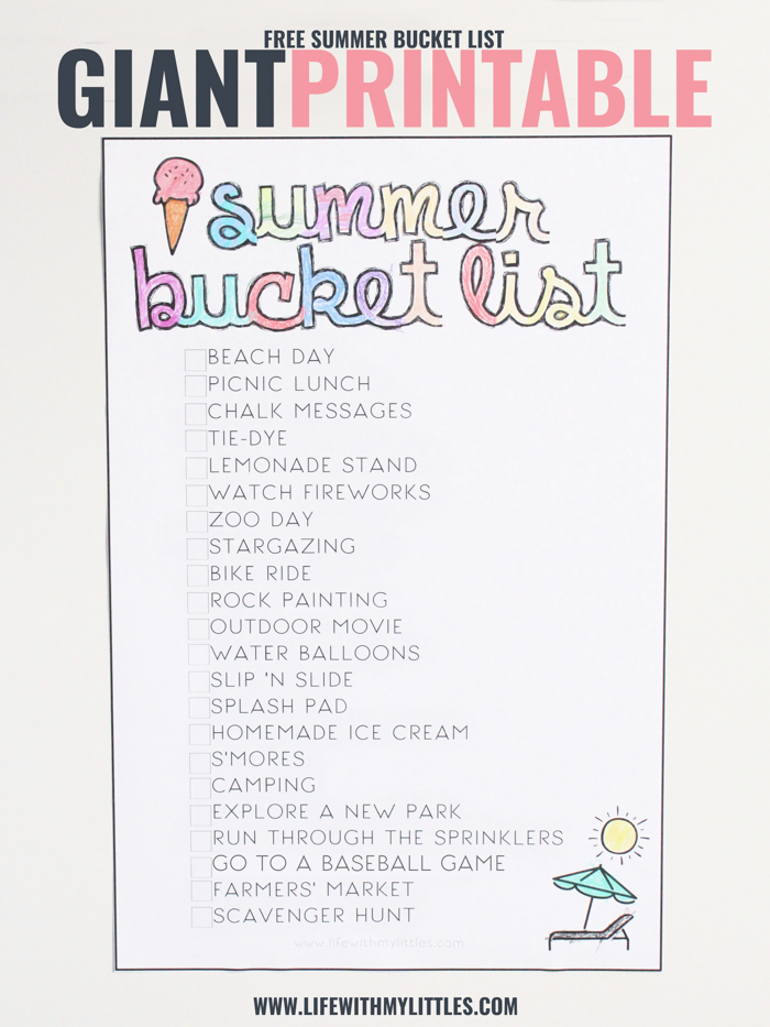 This free giant printable summer bucket list for kids is such a fun way to stay busy this summer! Print if off, color it in, and enjoy your summer!